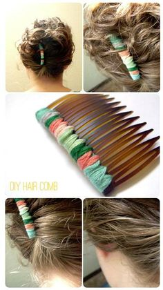 DIY Hair Comb  Ugly colors in my opinion, but you can always change them up!! ^.^