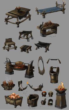 Concept art of norn set dressing for Guild Wars 2 by Brian Lawver – Art Drawing Tips Prop Design, Game Design, Game Props, Guild Wars 2, Game Concept Art, Environment Concept Art, 2d Art, Environmental Art, Illustrations