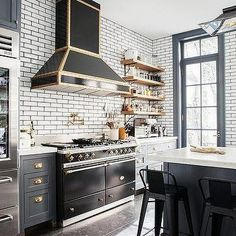Black and Gold French Stove, Transitional, Kitchen
