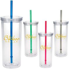 """16 oz. tall clear, double wall insulation tumbler with a straw that is intended for cold beverages only.Has a screw-on lid with a removable color accent drinking straw. Measures 3 3/16"""" dia x 7 1/4"""" h. It reaches its 16 oz. capacity when filled to the rim. BPA free, good value."""