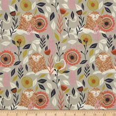 Cotton & Steel August Hide & Seek Grey from @fabricdotcom  Designed by Sarah Watts for Cotton + Steel, this cotton print is perfect for quilting, apparel and home decor accents. Colors include white, mustard, coral, navy, brown, pink and greige.
