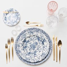 Blue Fleur de Lis Chargers + Blue Garden Collection Vintage China + NEW Celeste Flatware + Vintage Pink/EAPG/Coupe Trios + Antique Crystal Salt Cellars | Casa de Perrin Design Presentation