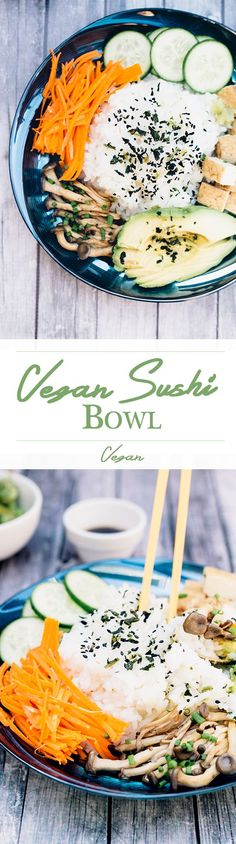 Healthy Vegan Sushi Bowl with Seasoned Sushi Rice, Veggies, Teriyaki Mushrooms and Teriyaki Dipping Sauce. ♡