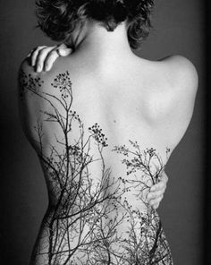 Tree Tattoo Design on the Back for Women