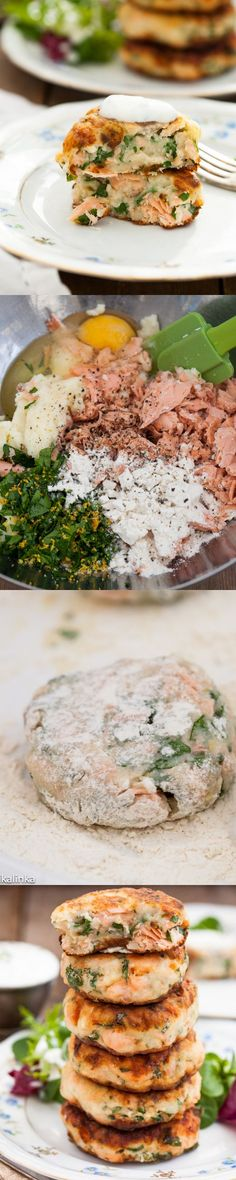 Salmon Cakes with Chive and Garlic Sauce. These cakes are prepared with potatoes instead of bread crumbs so could be easily made gluten-free. u recon u can eat these? Salmon Recipes, Fish Recipes, Seafood Recipes, Great Recipes, Cooking Recipes, Favorite Recipes, Healthy Recipes, Healthy Dinners, Recipies