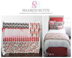 Coral & Brown Arrows & Feathers Sibling Shared Suite Bedding Collection. Baby and toddler shared room ideas, Girl and boy sharing a room, Sharing rooms with siblings