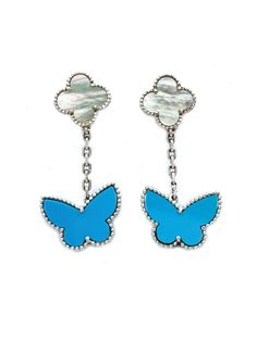 Van Cleef & Arpels Lucky Alhambra® Butterfly Ring and Earclips Ensemble Butterfly Ring, Butterfly Jewelry, Blue Butterfly, Van Cleef And Arpels Jewelry, Van Cleef Arpels, Unique Settings, Innovation Design, Ear Rings, Jewels