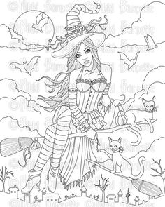 Digital Stamp - Printable Coloring Page - Witch Stamp - 2 Versions - Adult Coloring Page - Hailey - by Nikki Burnette - PERSONAL USE