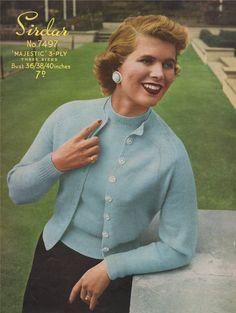 9e1efebdb9cc Womens Twin Set PDF Knitting Pattern   Short Sleeved Jumper   Sweater and  Cardigan . Ladies 36