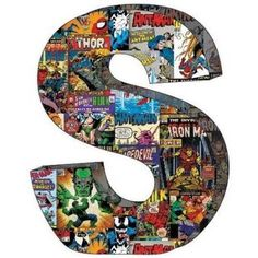 Marvel Retro Comics Wood Letter S With Hooks Wall Print Art Home Decor Wooden Alphabet Letters, Diy Letters, Giant Letters, Floral Letters, Spiderman, Wall Art Prints, Poster Prints, Movie Prints, Letter J