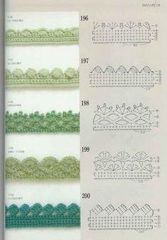 Crochet Edge - free pattern, chart, #haken, gratis haakschema, randen: