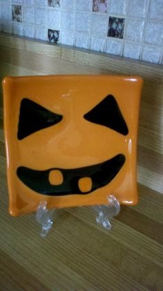 Pumpkin Face Fused Glass Plate by BHGlassDesigns on Etsy, $12.00