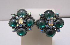Vtg VENDOME Huge Green Domed Glass Aurora Borealis Rhinestone Clip Earrings  #Vendome