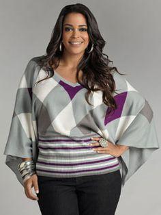 Ashley Stewart Plus Size Clothing | PLUS Trend Of The Day…Argyle Dolman Sleeve Sweater | PLUS Model ...