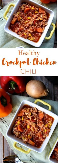 Healthy Crock Pot Chicken Chili is a simple meal made in a few hours. Loaded with vegetables, spices & shredded chicken, it's the perfect fall dinner!