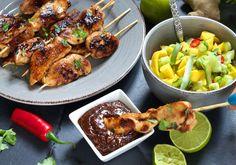 kylling satay med peanottsaus Frisk, Chicken Wings, Turkey, Meat, Food, Meal, Eten, Hoods, Meals