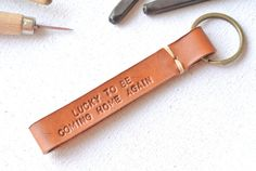 Personalized Fob Leather KeyChain . by ninexmusexleather on Etsy, $22.00
