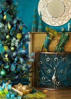 Peacock Decor Bedroom, Peacock Nursery, Peacock Living Room, Vintage Bedroom Decor, Peacock Theme, Peacock Bedding, Live Christmas Trees, Christmas Mantels, Magical Christmas