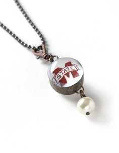 Mississippi State Bulldogs | Round Globe Glass Necklace | meesh & mia