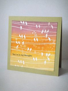 """Lovely """"thinking of you"""" card.  nice design.  would be cool with resist."""