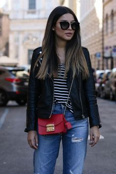 Guys, check my new ootd with Furla Metropolis, Stripes Shirt & Boyfriend jeans Winter Outfits, Casual Outfits, Cute Outfits, Fashion Outfits, Women's Casual, Boyfriend Jeans, Love Fashion, Autumn Fashion, Outfits