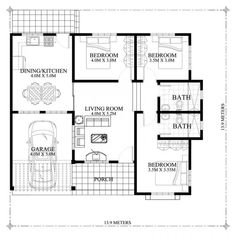 Hasinta - Bungalow House Plan with Three Bedrooms - Pinoy House Plans My House Plans, Modern House Plans, Small House Plans, House Floor Plans, The Plan, How To Plan, Modern Bungalow House Design, Small House Design, Three Bedroom House Plan