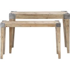 2 wood console tables with tapered legs and metal corner details.      Product: Small and large console table    Constru...