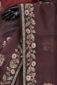 Buy Bole Brown Sequins Embroidered Organza Saree Online Source by embroidery Saree Embroidery Design, Embroidery Suits Punjabi, Zardozi Embroidery, Hand Embroidery Dress, Bead Embroidery Patterns, Couture Embroidery, Embroidery Fashion, Hand Embroidery Designs, Embroidery Online