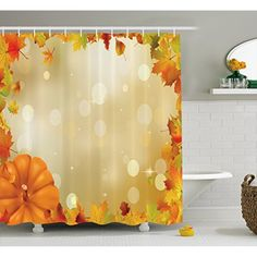 Thanksgiving Shower Curtain by Lunarable, Abstract Bokeh Backdrop with Maple Aspen Leaves and Pumpkin Framework, Fabric Bathroom Decor Set with Hooks, 84 Inches Extra Long, Orange Yellow Green * Learn more by visiting the image link. (This is an affiliate link) #Bath