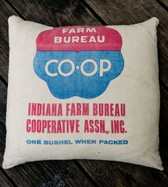 Vintage Feed Sack Throw Pillow - CO-OP | Home Decor | Hawks and Doves | Scoutmob Shoppe | Product Detail