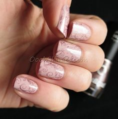 OPI My Very First Knockwurst with Dance Legend Excalibur and UberChic Beauty plate UC1-03