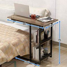 Virod-Home Office Desks Side Table, Laptop Table It Can Move Multifunction Simple Desk Lazy Bedside Table, Dorm Room, Balcony Modern Style (Color : Walnut Wood, Size : 8040 Black Frame) Laptop Table, Laptop Desk, Home Desk, Home Office Desks, Metal Furniture, Furniture Design, Sofa Bed Design, Side Table Decor, Desks For Small Spaces
