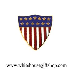 Presidential Flag Pins, Union Crest American Flag Lapel Pin, USA, Based On  White House Design, Seal Gift Box