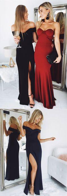 prom dresses, gorgeous 2018 prom dresses, off the shoulder black mermaid long prom dresses with side slit, elegant formal evening dress