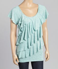 Allie & Rob Turquoise Ruffle Scoop Neck Top   zulily