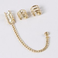 Shiny Gold Ear Cuffs with Gold Stud Earring – Claire's