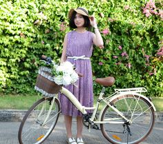 Purple Green White Spring Summer Flora Flowers Vintage Japanese Pleat Dress