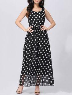 Round Neck Polka Dot Chiffon Maxi Dress