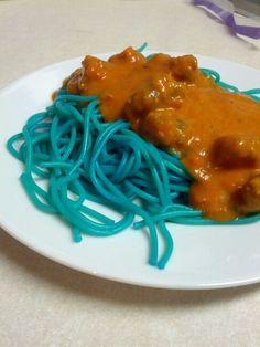 Blue spaghetti!