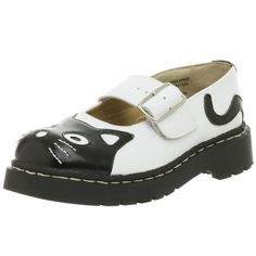 T.U.K. Women's Cat Mary Jane Flat -  Meow! You are one playful kitty in this feline-inspired mary jane from T.U.K. It features a classic black and white palette and mod wide strap closure, while a substantial outsole lends height and chic heft to this hip leather shoe.  #Shoes [Price: $46.86 - $70.00]