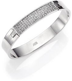 ABS by Allen Schwartz Jewelry Pave Plate Hinged Bangle Bracelet/Silvertone on shopstyle.com Bangle Bracelets, Bangles, Jewelries, Luxury Jewelry, Bling Bling, Abs, Plates, Sculpture, Womens Fashion