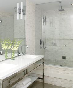 Trend: Sleek modern bathrooms with luxurious showers!  Get this #Bathroom #Remodel Trend with #ReBath! 1-800-BATHTUB