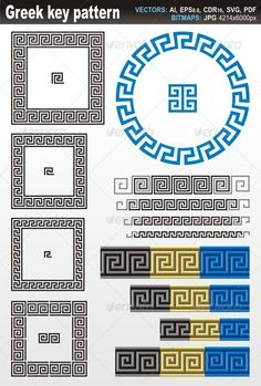 Greek Key Pattern  #GraphicRiver         Borders and dividers created using ancient Greek key patterns.   Vectors in CMYK, fully editable, no gradients or transparencies.  Zip file contains:   Illustrator EPS v8.0  Illustrator AI v8.0  Vector PDF  SVG  Coreldraw CDR v10  Hi-Res jpeg 4214×6000px      Created: 25July13 GraphicsFilesIncluded: JPGImage #VectorEPS #AIIllustrator Layered: No MinimumAdobeCSVersion: CS Tags: ancient #border #circle #decorative #design #designelements #divider…