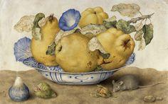 """Гарцони, """"Керамическая чаша с айвой, рисом, орехами и мышкой"""" (1651-1662), темпера на пергаменте."""