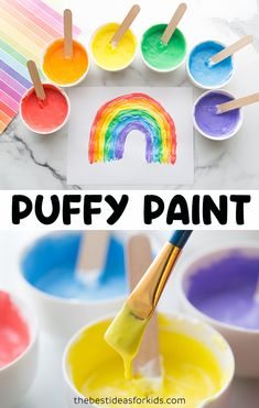 How to Make Puffy Paint - this puffy paint recipe only requires 3 ingredients! Free printable templates to paint with available. Winter Crafts For Kids, Easy Crafts For Kids, Toddler Crafts, Projects For Kids, Diy For Kids, Puffy Paint, Painting For Kids, Diy Painting, Homemade Paint
