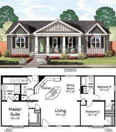 open floor plan: A pair of rocking chairs would fit perfectly on th. open floor plan: A pair of ro Dream House Plans, Small House Plans, House Floor Plans, Small Home Floor Plan, Open Floor Plans, 3 Bedroom Home Floor Plans, Pole Barn House Plans, Open Concept Floor Plans, Barn Plans
