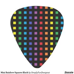 Mini Rainbow Squares Black Guitar Pick