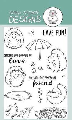 Cheerful Hedgehog 4x6 Clear Stamp Set by Gerda Steiner Designs