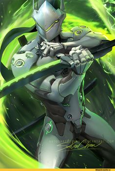 Sakimichan,artist,Genji (Overwatch),Overwatch,Blizzard,Blizzard Entertainment,фэндомы,Overwatch art