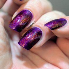 Dragon Heart - A purple nail polish with gold/bronze ultra chameleon flakies